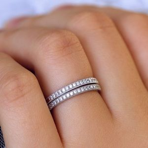 Jewelry - 2pcs Solid Silver Half Eternity Wedding Bands Ring